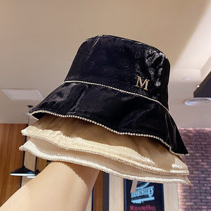 Pearlescent fabric Rhinestone chain leisure lady bucket cap women fashion hat