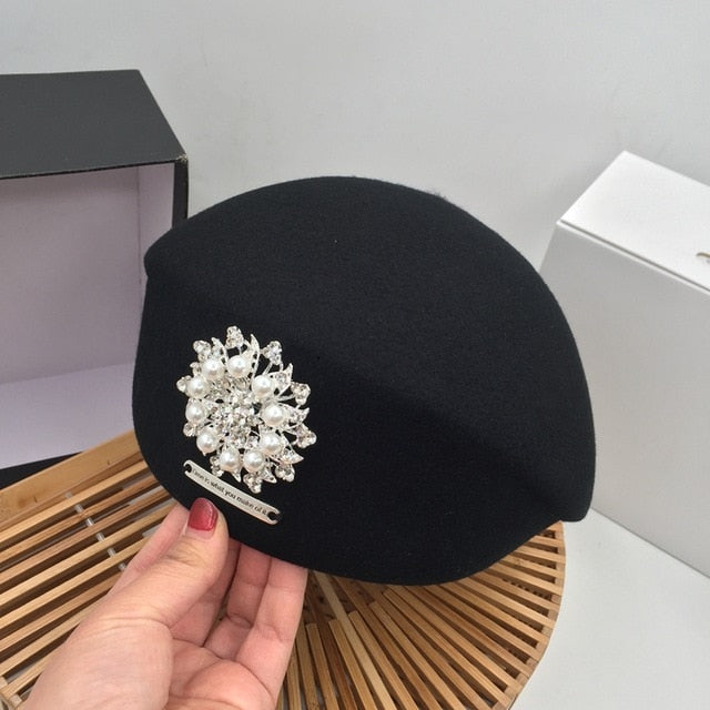 Autumn and winter new black wool beret painter hat pearl bright diamond lady stewardess hat female