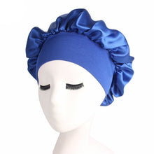Load image into Gallery viewer, Adjust Women Satin Bonnet Cap Night Sleep Hair Head Cover Wide Band Elastic Hat