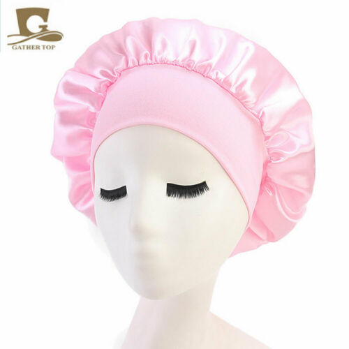 Adjust Women Satin Bonnet Cap Night Sleep Hair Head Cover Wide Band Elastic Hat