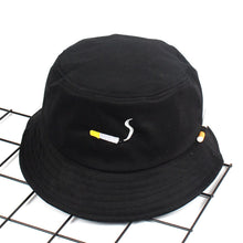 Load image into Gallery viewer, Cigarette Embroidery Bucket Hat Men Women Hip Hop Fishing Cap Adult Panama Bob Hat Summer Lovers Flat Hat Cotton NO CHILL