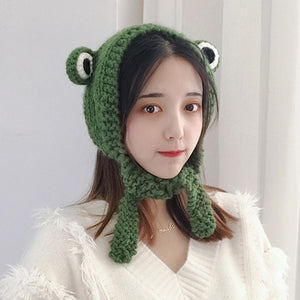 Women Girl Frog Eyes Solid Color Knitted Ear Cover Earmuff Hat