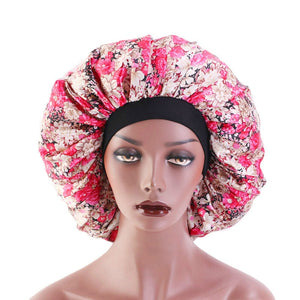 Large Silk Sleeping Hat Lady Elastic Wide Side Satin Printed Night Cap Hair Loss Cap Turban Chemo Hat Women Hair Accessories