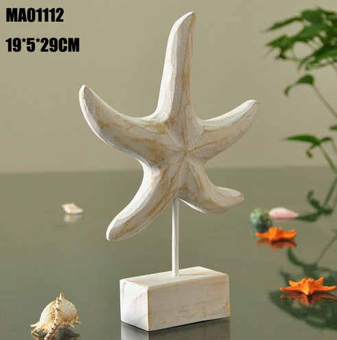 Mediterranean Style Wood Crafts Home Decoration Accessories Wooden Crafts Starfish Conch Hippocampus Wood Carving Marine Decor