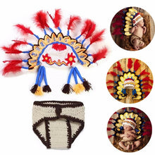 Load image into Gallery viewer, 2Pcs/Set Newborn Photography Props Newborn Handmade Crochet Knit Clothes Set Indian Chief Hat Indian Style Baby Photo Costume