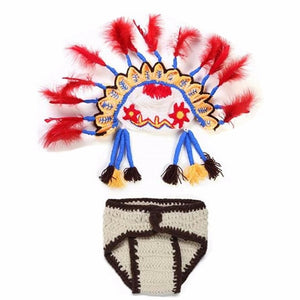 2Pcs/Set Newborn Photography Props Newborn Handmade Crochet Knit Clothes Set Indian Chief Hat Indian Style Baby Photo Costume