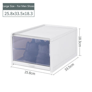 Woman Shoes Plastic Pull Shoe Storage Box Container Case Transparent Stackable Shoes Boxes Cabinet Organizer Flip Drawer