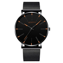 Load image into Gallery viewer, Minimalist menswear ultra thin watches simple business stainless steel mesh belt quartz watch