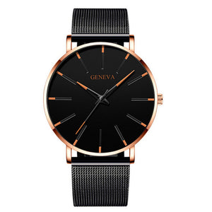 Minimalist menswear ultra thin watches simple business stainless steel mesh belt quartz watch