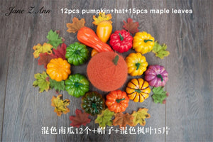 Jane Z Ann Baby photography accessories halloween theme studio shooting ideas hat wrap pumpkin maple leaf props