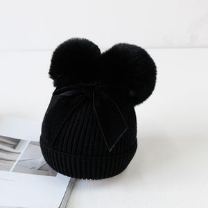 soft cotton knitted pom poms hats beanies for kids girl toddler baby girl hat winter cap