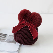 Load image into Gallery viewer, soft cotton knitted pom poms hats beanies for kids girl toddler baby girl hat winter cap