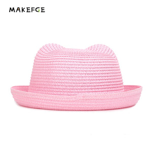 Fashion Popular Summer Hat children's Breathable Multicolor Cat Ears Straw Cap Solid Color Boy Girl Baby Kids Sun Hat