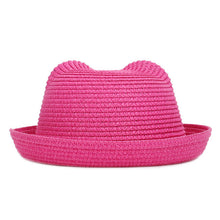 Load image into Gallery viewer, Fashion Popular Summer Hat children's Breathable Multicolor Cat Ears Straw Cap Solid Color Boy Girl Baby Kids Sun Hat