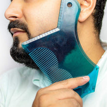 Load image into Gallery viewer, Pro Beard Styling Shaping Template Ruler Comb Barber Tool Black Clear Blue Symmetry Trimming Shaper Stencil