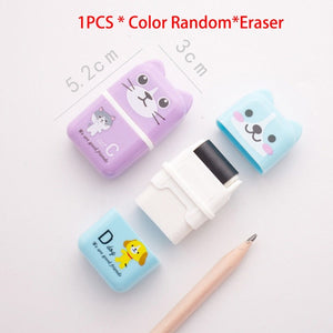 1pcs Cute Cartoon Roller/Colorful Rectangle Eraser Rubber Students Stationery Kids Gifts School Office Correction Supplies