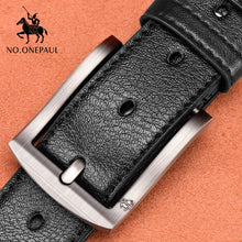 Load image into Gallery viewer, NO.ONEPAUL Jeep Style Genuine Leather For Men High Quality Black Buckle Jeans Belt Cowskin Casual Belts Business Belt Cowboy waistband