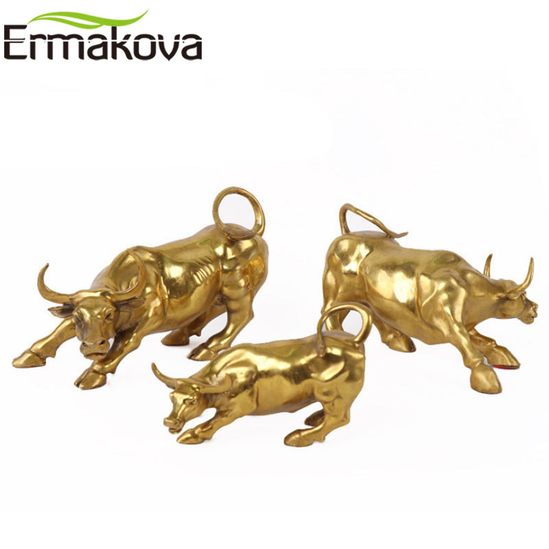 ERMAKOVA Wall Street Golden Fierce Bull OX Figurine Sculpture Charging Stock Market Bull Statue Home Office Decor Gift
