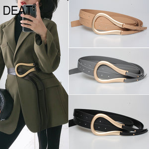Women Unique Modern Style PU leather Belts Metal Buckle Circle holes wide cross body belt