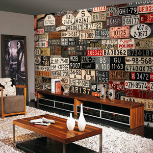Custom Retro 3d license plate Wall Paper Home Improvement Decorative Wallpaper background wall murals