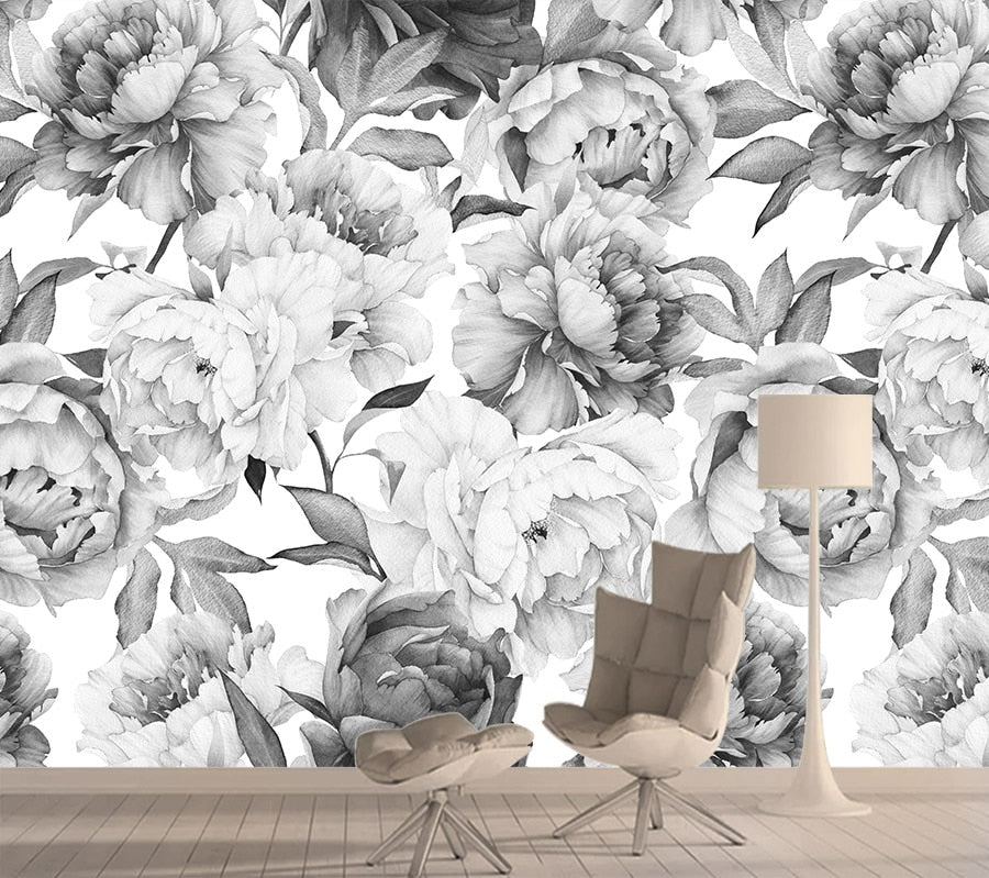 3d Wallpapers for Living Room Black White Rose Nature Wall Paper Papers Home Decor Improvement Murals Wallpaper Contact Roll