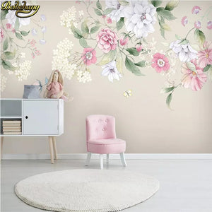 beibehang Modern Hand painted floral wallpapers for living room minimalist TV background photo mural wall paper home improvement