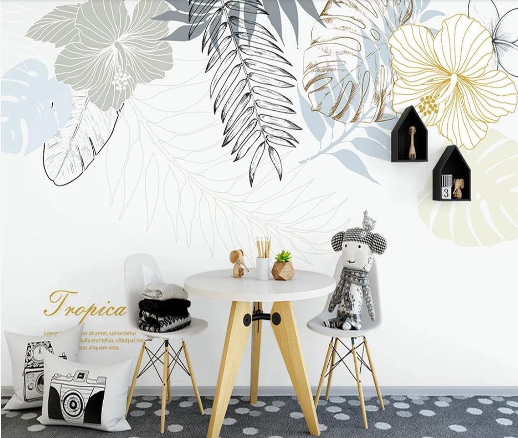 Tropical Leaf Wallpaper Murals 3D Photo Wall Papers Wall Art Decor Contact Paper Home Improvement Wall Cover Wall Mural