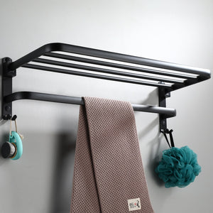Stainless Aluminum Wall Mounted Bathroom Storage Shelf Towel Holder Rack Accessories Shower Organizer Home Improvement Shelves