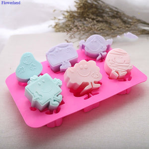 6 Cartoon Molds Food Grade Soft Silicone Cute SpongeBob SquarePants Handmade Soap Mold Cartoon Cake Silicone Mold Soap Making Set