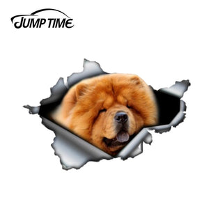 13cm x 8.8cm Red Chow Chow sticker Jump Time decoration 3D Pet Graphic Vinyl Decal Car Window Laptop Bumper Animal Car Stickers