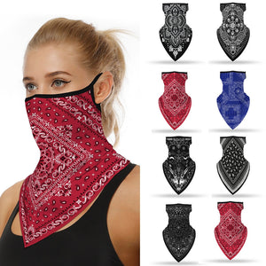 Bandanna Print Seamless Scarf Ear Hook Sports Scarf Neck Tube Face Dust Riding UV Protection Neck Gaiter Scarf