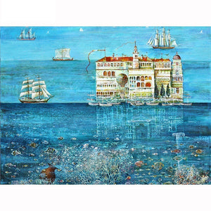 Sea Castle Sailing Boat 5D Diamond Arts Painting DIY Full Drill Square Round Diamonds Craft Supplies Embroidery Rhinestone Painting