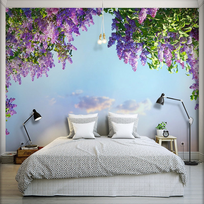 3D Room Beautiful Flower Landscape Wallpaper Violet Wall Mural Bedroom Wall Decor Wall Paper Home Improvement