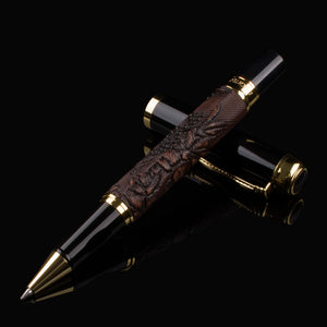 891 BROWN AND GOLDEN PEN ROLLER BALL DRAGON CLIP RICH CULTURE FLOWER Flower CHOICE BEST GIFT OF BUSINESS