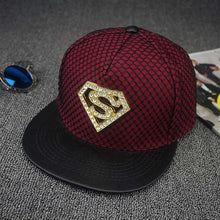 Load image into Gallery viewer, Rhinestone Superman style Summer Mesh Baseball Cap For Men Women Teens Casual Bone Hip Hop Snapback Caps Sun Hats