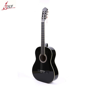 "Hot Sale Factory 39"" Beginner Classic Guitar Basswood 6-Strings White Bordure Students Black Guitar Guitarra"