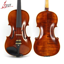 Load image into Gallery viewer, Hand-craft Advanced Violin Oil Varnish Naturel Flamed Maple Violin 4/4 Spruce Plate Ebony Parts w/ Bow Case Tuner