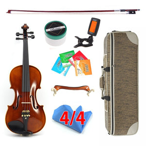 Hand-craft Advanced Violin Oil Varnish Naturel Flamed Maple Violin 4/4 Spruce Plate Ebony Parts w/ Bow Case Tuner