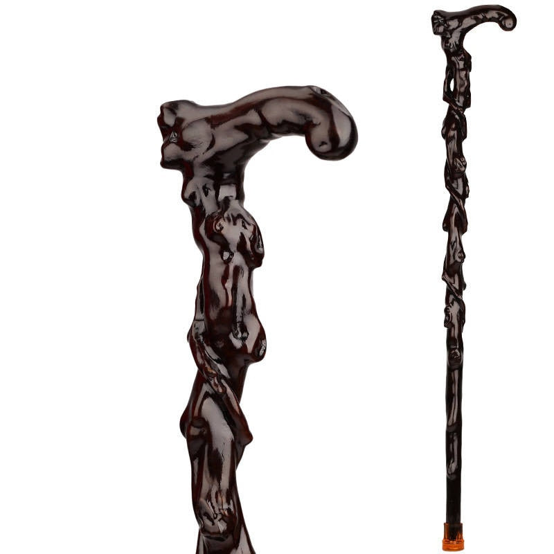 The old wood carving wood carving iron crutch over Fu pear rosewood cane cane Walker elderly
