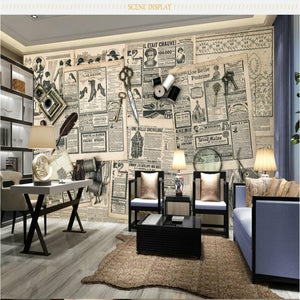 Custom 3D Wallpaper for Retro Newspaper Look 3d Wall Paper Background Painting Mural Wallpapers Home Improvement Decorate