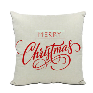 1Pcs 45*45 Cm Happy New Year Christmas Decorations for Home Cartoon Elk Linen Decorative Pillows Cover Navidad