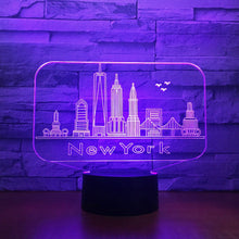 Load image into Gallery viewer, New York City Building 3D Night Light Colorful Led Atmosphere Bedroom Table Lamp Lovely 7 Color Change 3D Usb Led Night Light