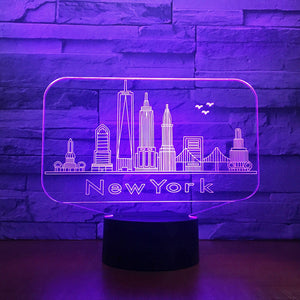 New York City Building 3D Night Light Colorful Led Atmosphere Bedroom Table Lamp Lovely 7 Color Change 3D Usb Led Night Light