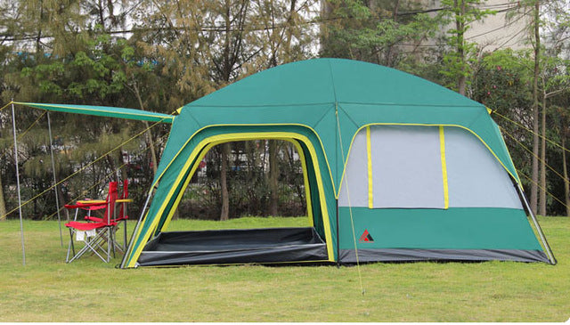 Ultralarge double layer one hall two bedrooms 5-8 person waterproof windproof camping tent fully automatic thick fabric tent