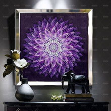Load image into Gallery viewer, Purple Flower Mandala Diamond Painting Kit DIY Full Drill Select Square Round Diamonds Arts Crafts Embroidery Diamond Paintings Home Décor