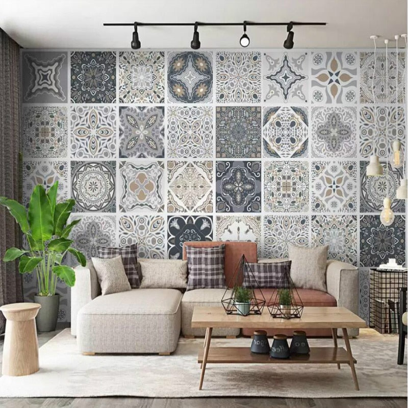 Vintage tile bohemian style ethnic pattern 3d Wall Paper Decorative Painting Wallpaper for Walla Home Improvement