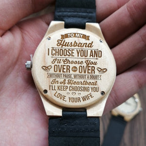 To My Husband-Mere Words Cannot Begin To Tell You How I Feel Engraved Wooden Watch Personalized Wooden Watch Gift for Men
