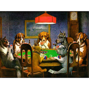 Poker Dogs Diamond Painting Kit DIY Full Drill Select Square Round Diamonds Arts Crafts Embroidery Inlay Diamond Paintings Home Decoration