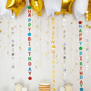 Multi-color DIY Decoration Happy Birthday Bunting Balloon hanging decoration Wedding Love Banner Garland Kids Birthday Party