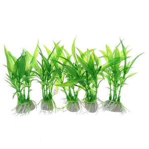 LBER Artificial Aquarium Plants Fish Tank Aquatic Decoration Home Ornament Plastic Green Grass Aquarium Supply Pack of 5pcs